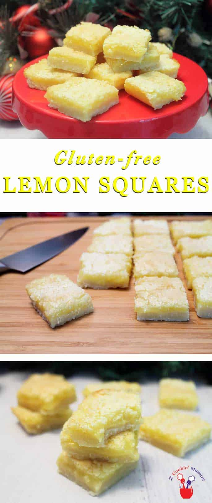 Lemon squares on cake stand & cut bars on wooden board with text overlay stating Gluten Free Lemon Squares.
