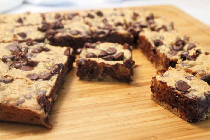 Graham Cracker Chocolate Chip Bars cut | 2 Cookin Mamas
