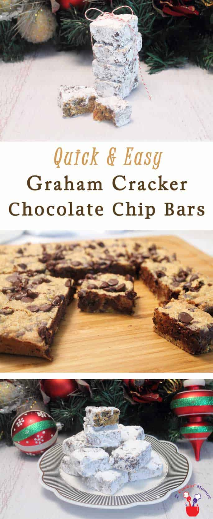 Graham Cracker Chocolate Chip Bars | 2 Cookin Mamas 3-ingredient Graham Cracker Chocolate Chip Bars are the easiest most delicious bar cookies you could make for Christmas. Rich, decadent & always popular. #recipe
