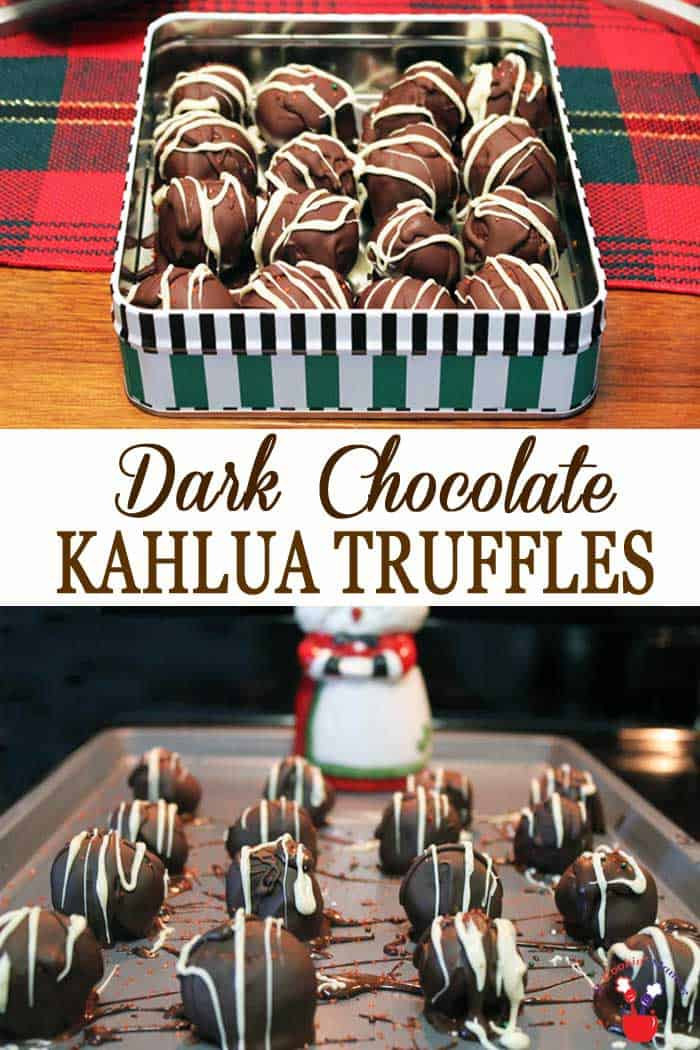 "Kahlua Truffles | 2 Cookin Mamas Decadent ""adults only"" Kahlua Truffles. Chocolate candy flavored with kahlua & a hint of coffee, drenched in dark chocolate then drizzled with white chocolate. Perfect for gift giving, cookie trays and holiday parties. #truffles #kahlua #candy #recipe #christmascandy"