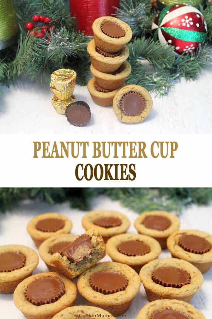 These Peanut Butter Cup Cookies are a candy & a cookie rolled into one. A soft & chewy peanut butter cookie surrounds a mini peanut butter cup. Yum! #cookies #peanutbutter #christmascookies #chocolate #recipe