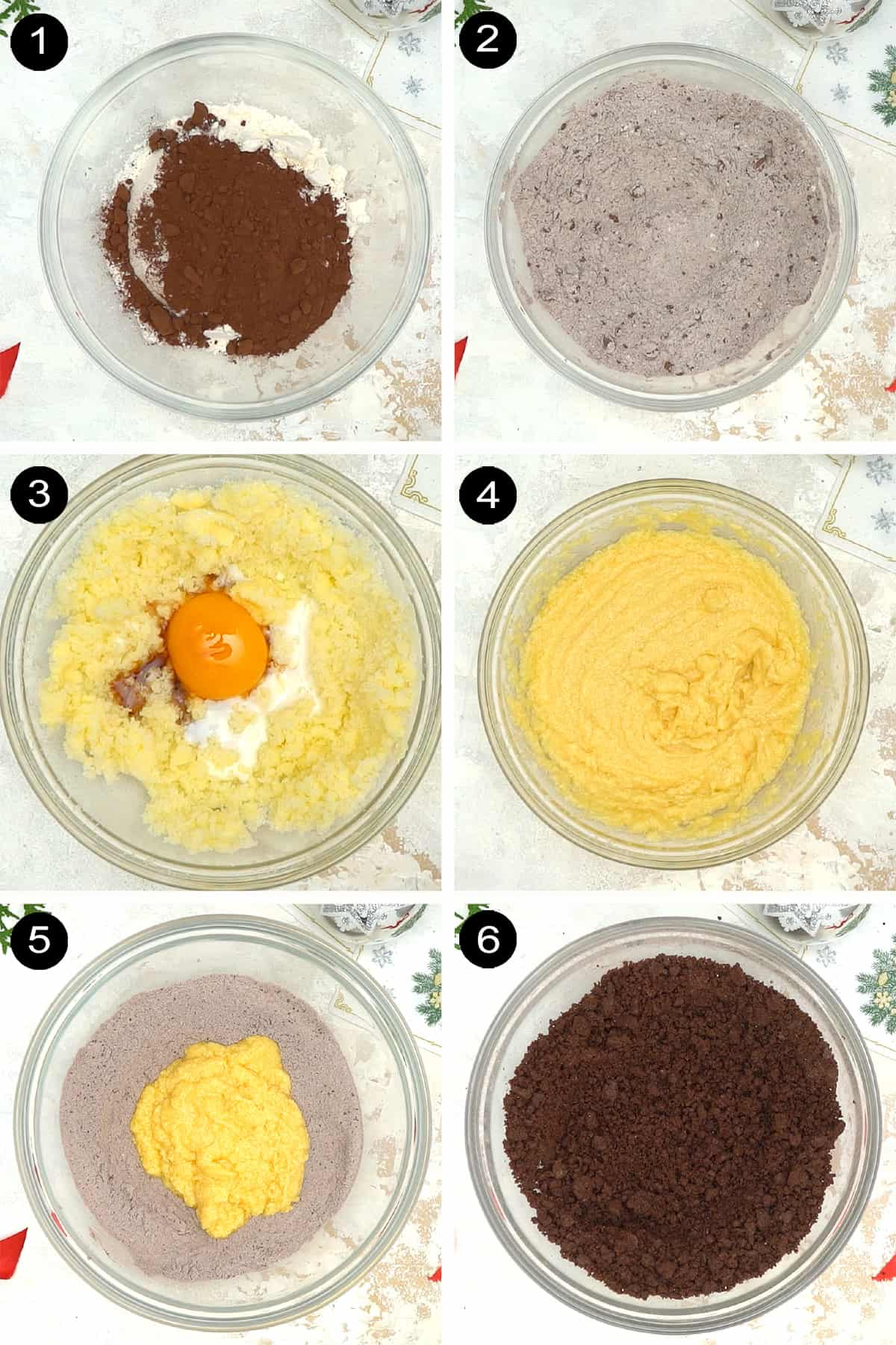Steps to make turtle thumbprint cookies 1-6.