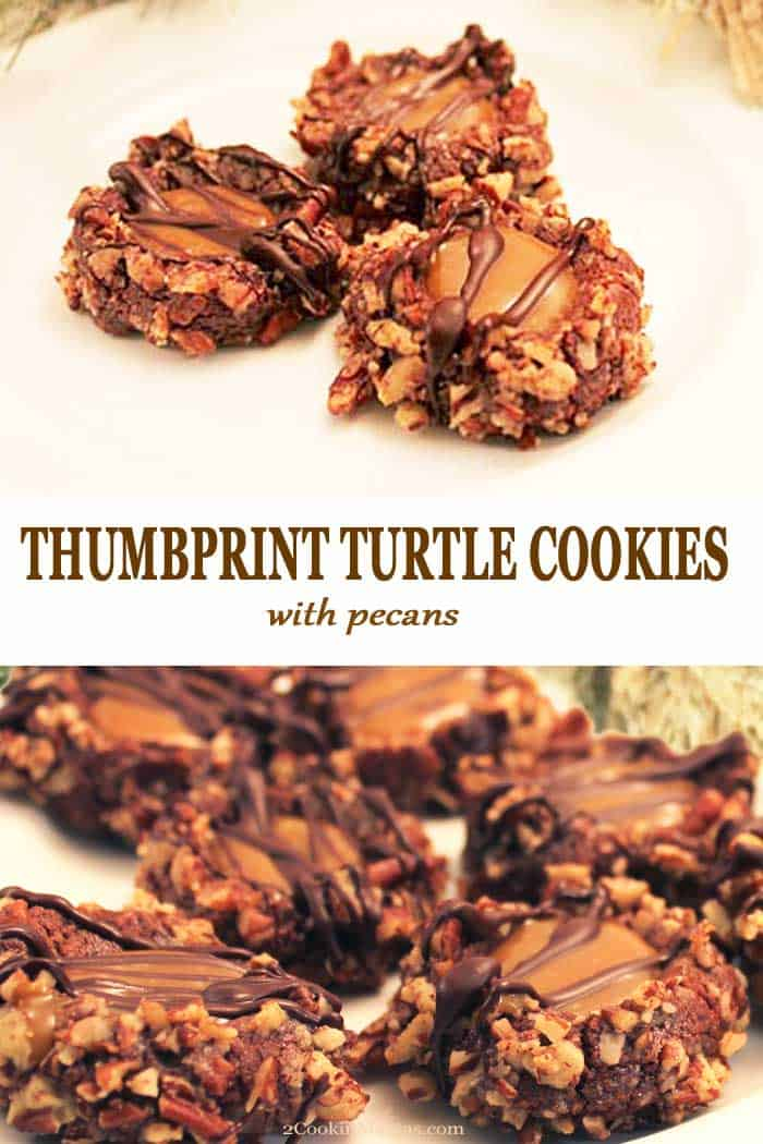 These Thumbprint Turtle Cookies are like candy in cookie form. Soft, chewy cookies with a center of rich caramel, a drizzle of chocolate and rolled in pecans. #cookies #christmascookies #chocolate #caramel #christmas #pecans #thumbprint #recipe