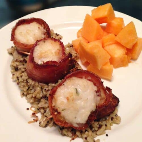 Bacon Wrapped Scallops plated square