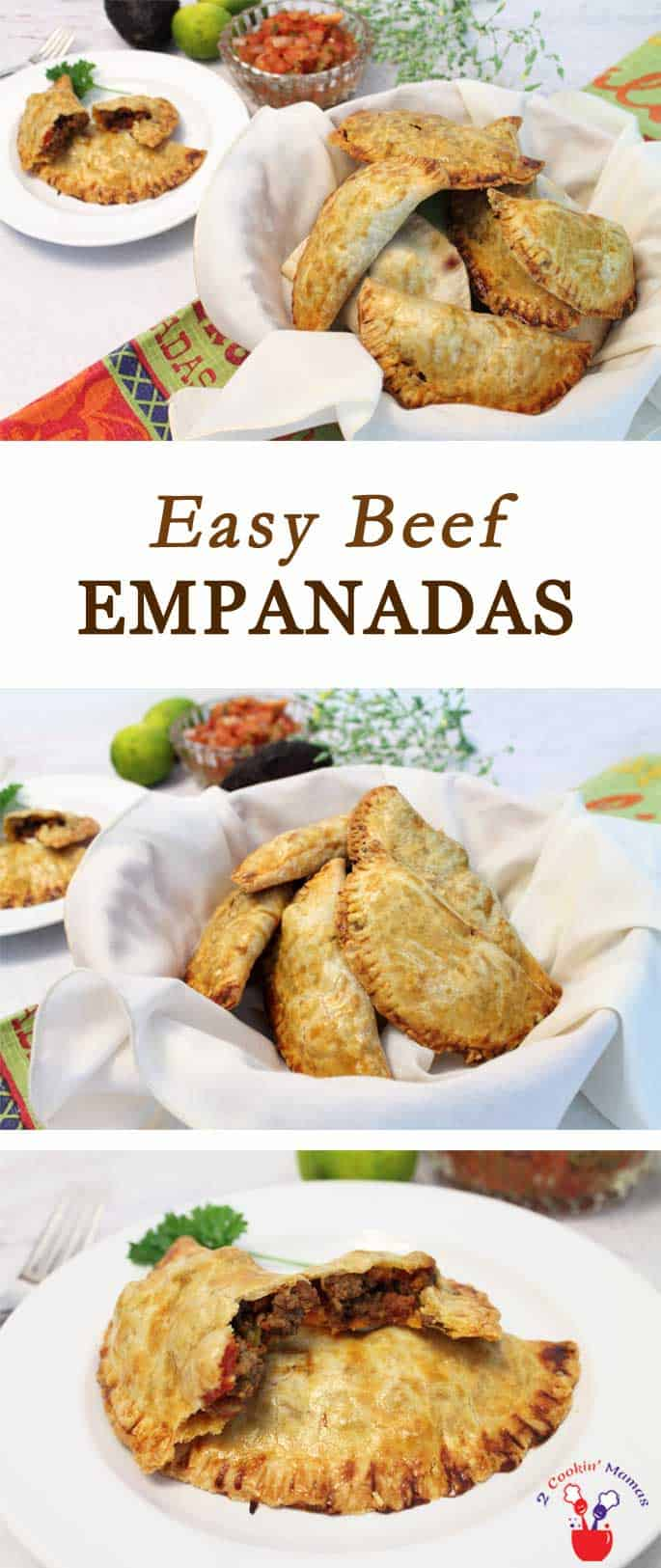 Easy Beef Empanadas   2 Cookin Mamas These easy beef empanadas are pockets of beef, chorizo and tomatoes baked up in a crispy pie crust. They go together in minutes & are always a party hit!
