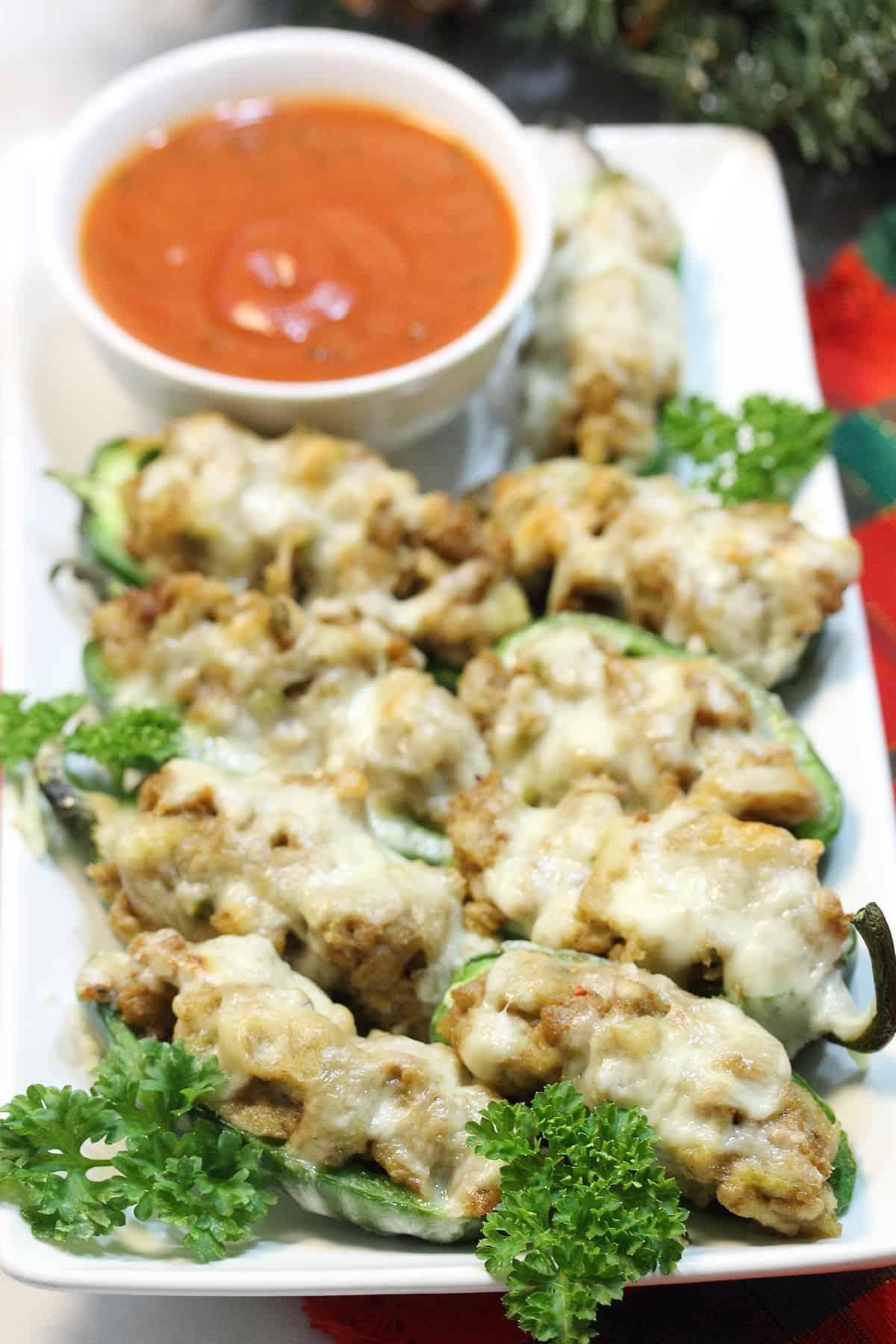 Plateful of poppers with marinara dipping sauce.