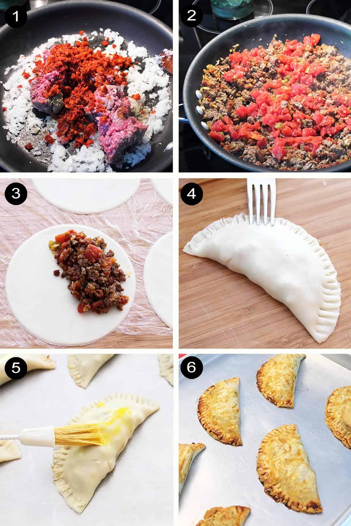 Prep steps for making empanadas.