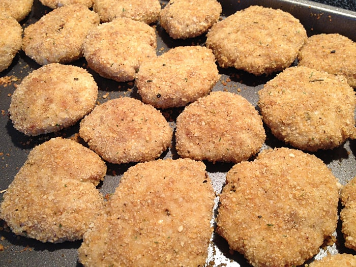 chicken nuggets baked on cookie sheet