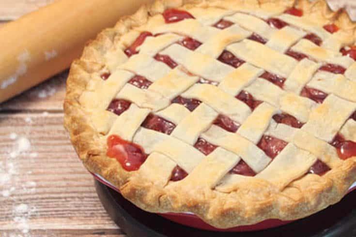 Closeup of Cherry Pie showing browned lattice work crust.