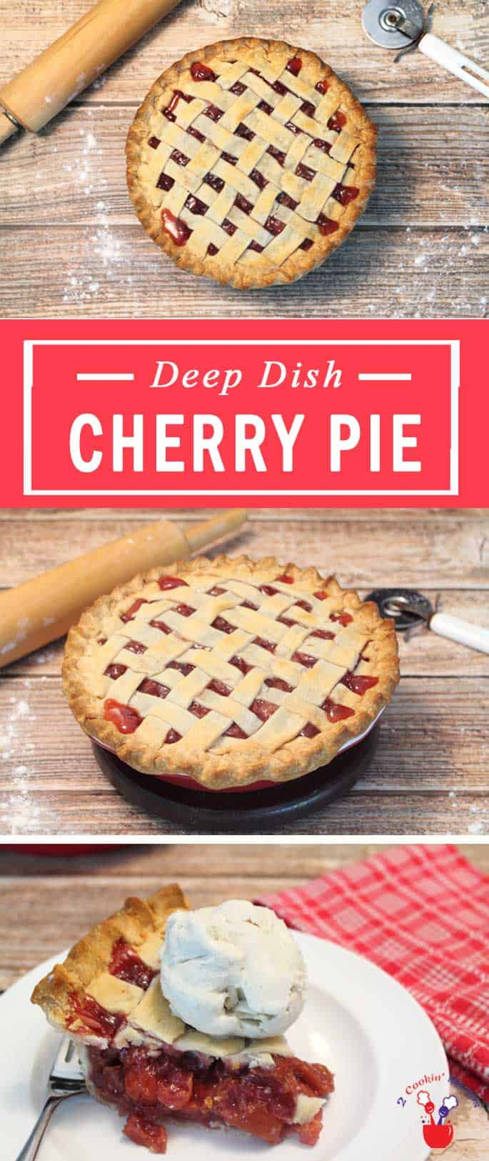 There's never been a deep dish cherry pie this good! Fresh cherries with just the right amount of sweetness are nestled in a flaky buttery pie crust. Yum! #cherrypie #pie #cherries #dessert #flakycrust