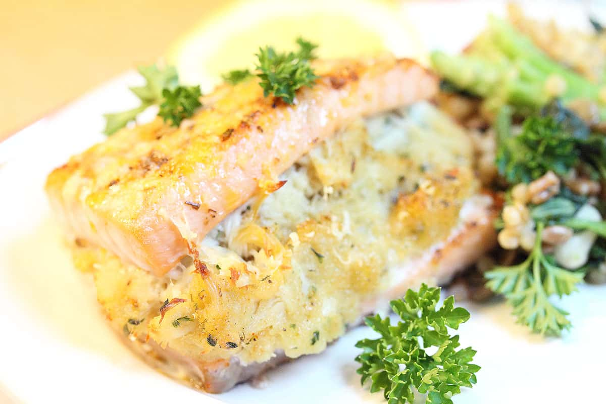 Closeup of moist salmon and crab stuffing.