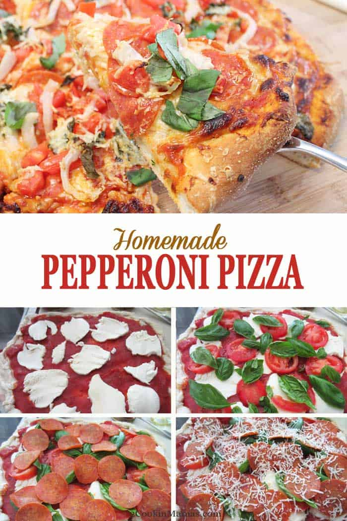 Homemade Pepperoni Pizza | 2 Cookin Mamas Make your own homemade pepperoni pizza tonight! It's 100 times better than store bought and easy too! Start with store-bought pizza dough, add your sauce and favorite toppings and voila - you've got pizza your way! And you've never tasted anything better than when it's hot out of the oven!  #pizza #pepperoni #homemade #recipe