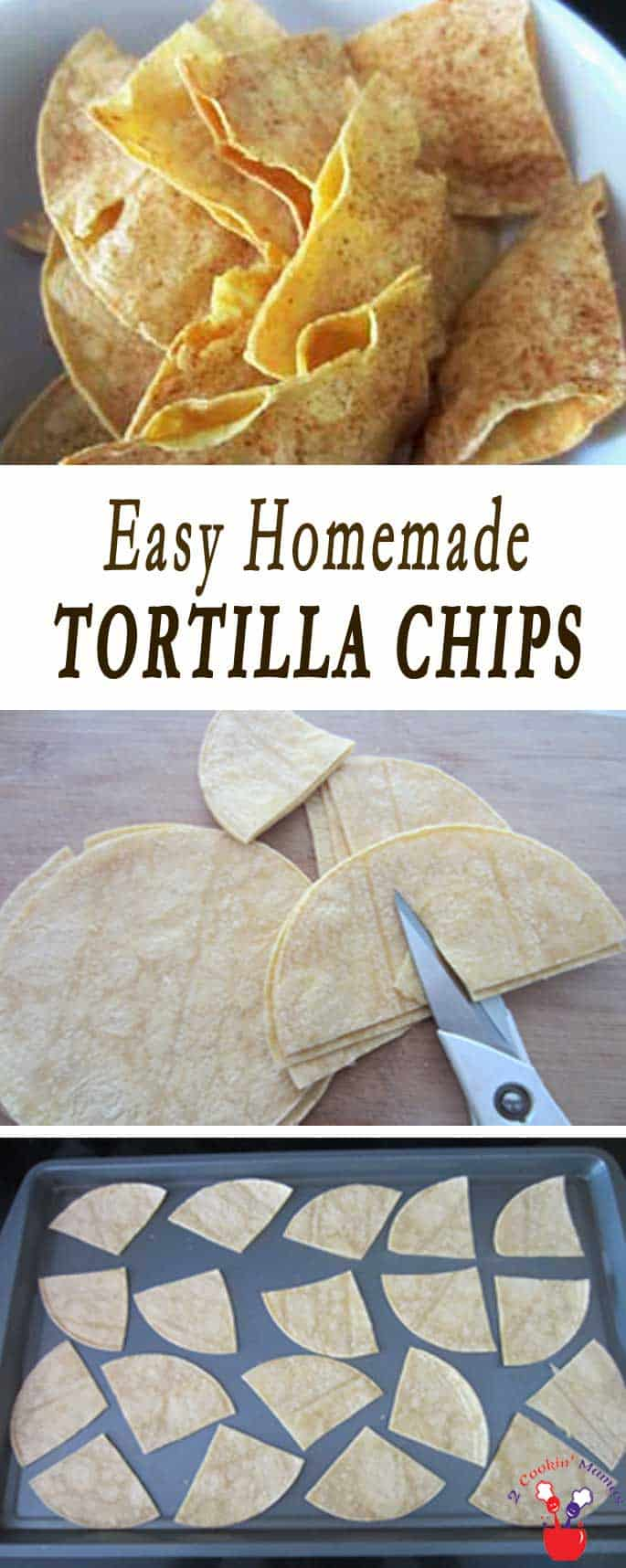 Homemade Tortilla Chips main | 2 Cookin Mamas When you realize how easy it is to make homemade tortilla chips you will never go back to store bought. Just corn tortillas, salt & spice!