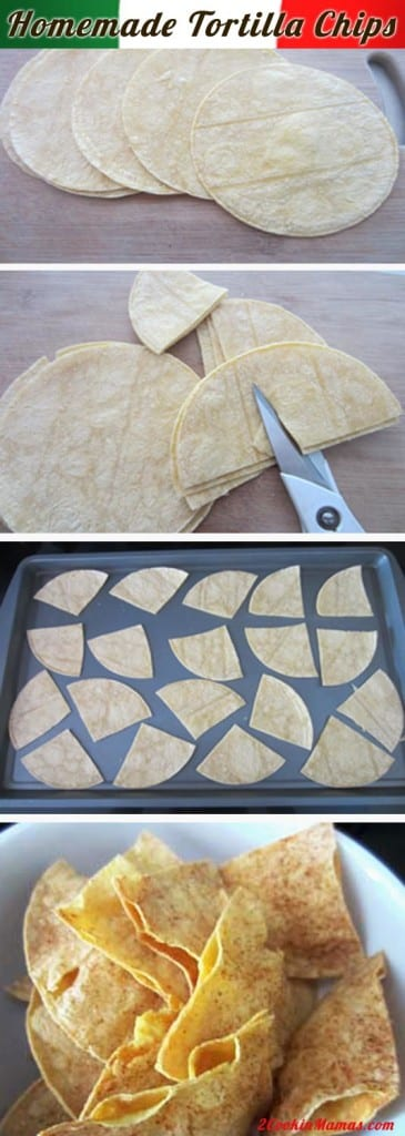 Homemade Tortilla Chips pin|2CookinMamas It's so easy to make your own tortilla chips. Just start with tortillas, cut them up, a little salt & spice and bake. Always fresh when you want them!