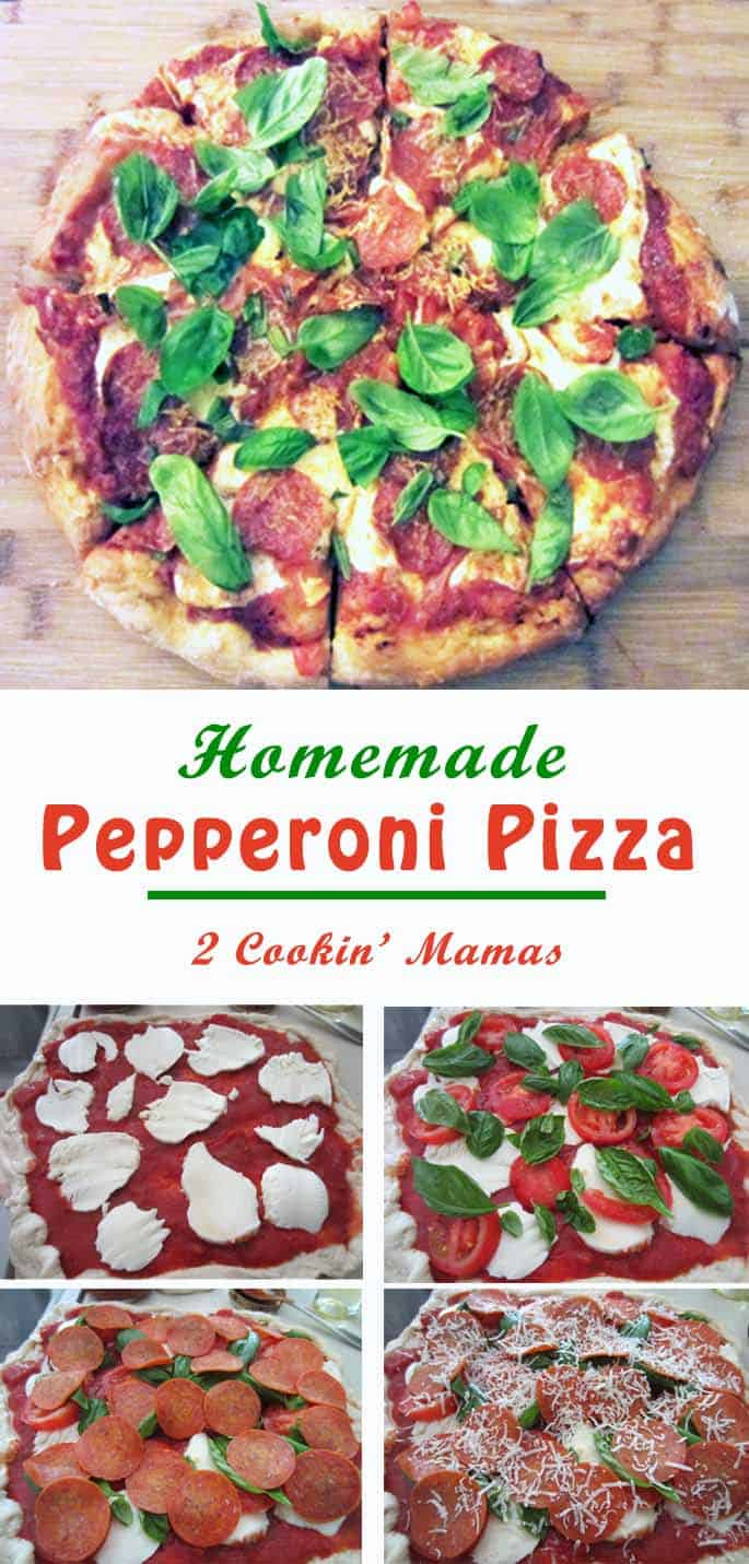 Homemade Pepperoni Pizza | 2 Cookin Mamas Have pizza whenever you want with this easy homemade pizza recipe. Top it with your favorite fixings for a quick delicious dinner. #recipe