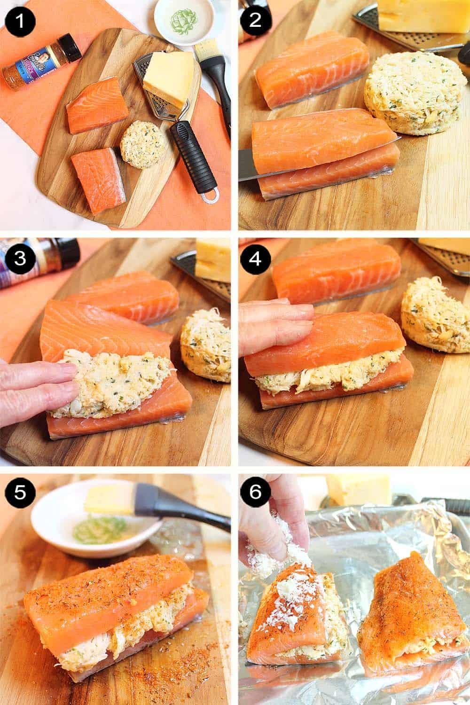 Prep steps for crab stuffed salmon.