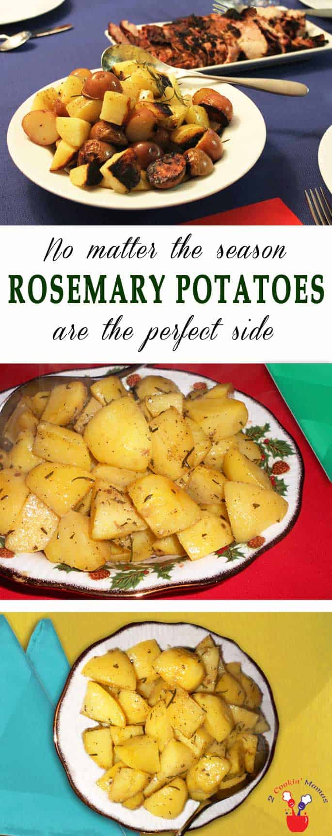 Easy Rosemary Potatoes are tossed with rosemary, garlic & olive oil then roasted to crisp perfection. A healthy & delicious side for any time of year. #potatoes #roastedpotatoes #rosemarypotatoes #sidedish