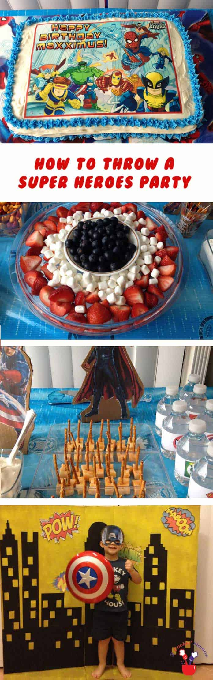 Superhero Birthday Party main | 2 Cookin Mamas Every little boy & girl love wants a Superhero Birthday Party! We've got the ideas, snacks & tie-dyed cake to make it the best party ever! #kidsparty #recipes