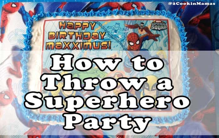 Superhero Birthday Party Cake | 2 Cookin Mamas Throw the best Superhero Birthday party with snacks, activities & this tie-dyed cake. #kidsparty #recipes