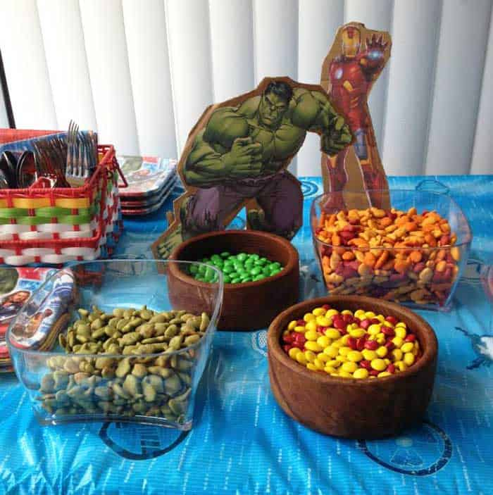 Superhero Birthday Party Ironman Hulk snacks | 2 Cookin Mamas