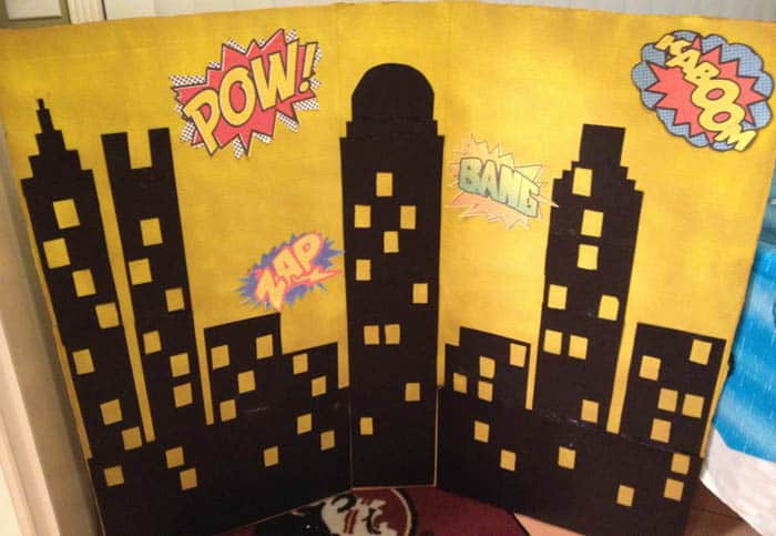 Superhero Birthday Party photo booth prep | 2 Cookin Mamas