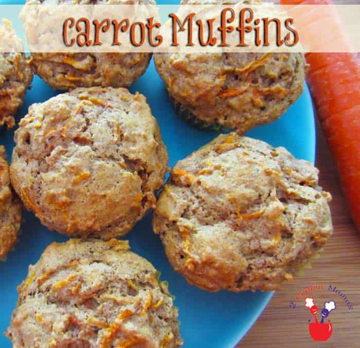 Carrot Muffins | 2 Cookin Mamas Easy to make carrot muffins that will have your kids eating veggies without any coaxing on your part. Fresh carrots,little sugar and a touch of cinnamon.