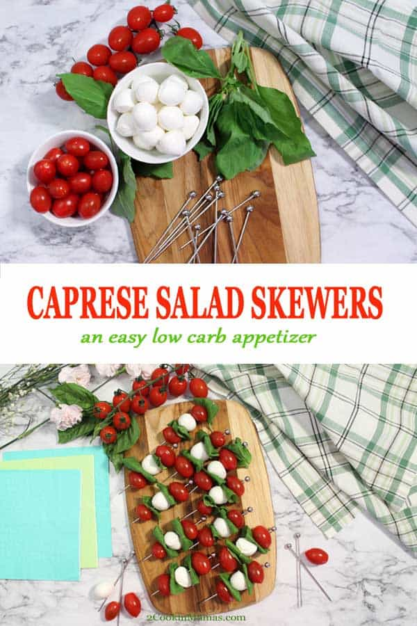 Caprese Skewers are an easy way to serve Caprese Salad as an appetizer. Skewer cherry tomatoes, small mozzarella balls & basil on toothpicks then drizzle with balsamic & olive oil. Great for summer parties, barbecues and game time. #appetizers #easy #capresesalad #salad #cherrytomatoes #mozzarella #basil #recipe #summer #gametime