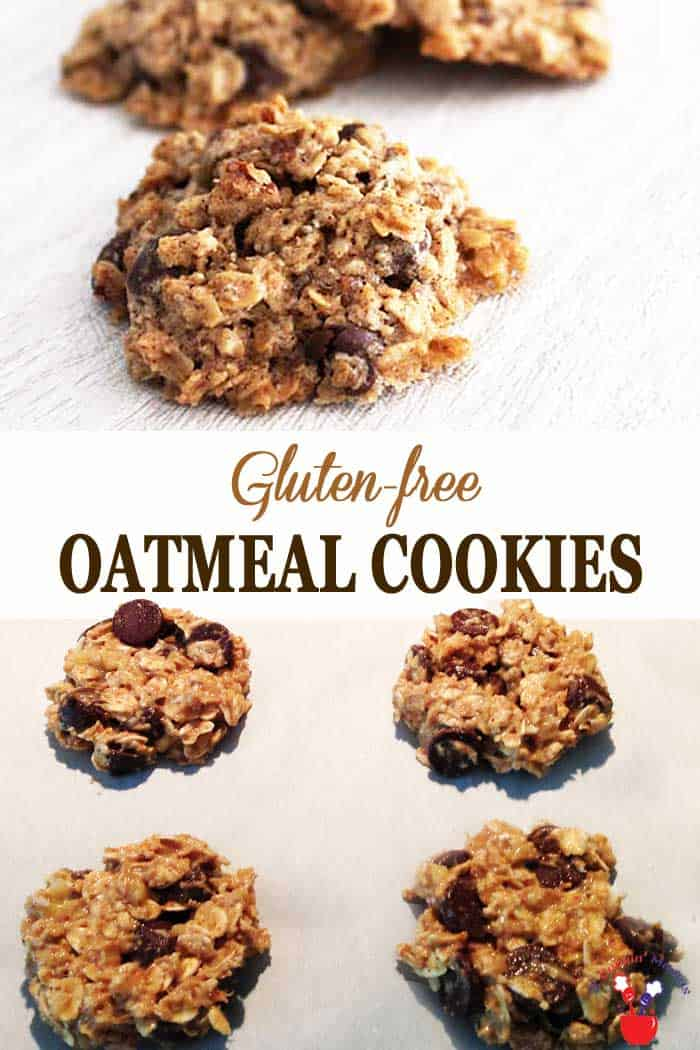 Gluten-free Oatmeal Cookies | 2 Cookin Mamas These Gluten-free Oatmeal Cookies are super delicious. They're crisp on the outside, chewy on the inside and have an extra dose of healthy with the addition of chia seeds. Oh, and a decadent touch of dark chocolate chips, 'cause, why not! #glutenfreecookies #healthycookies #oatmealcookies #cookies #chiaseeds
