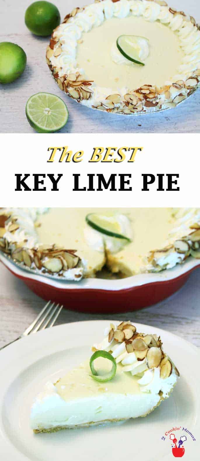 Take a bite out of this slightly tart & creamy key lime pie and you will think you're in the tropics! It's super easy to make & a Florida Keys favorite. #keylimepie #pie #dessert #keylime