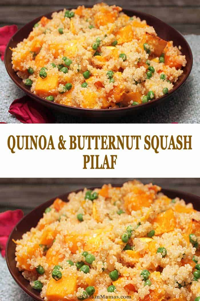 Quinoa and Butternut Squash Pilaf | 2 Cookin Mamas Quinoa and Butternut Squash Pilaf, flavored with garlic & Parmesan, is an easy side dish or a healthy, hearty meatless meal. Perfect for busy weeknights. #quinoa #butternutsquash #fall #recipe #sidedish #meatlessmeal