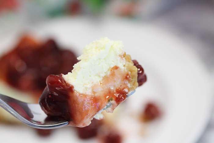 New York Cheesecake with cherries bite   2 Cookin Mamas