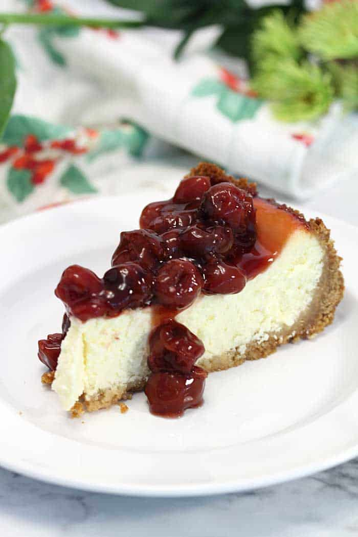 New York cheesecake with cherries slice | 2 Cookin Mamas
