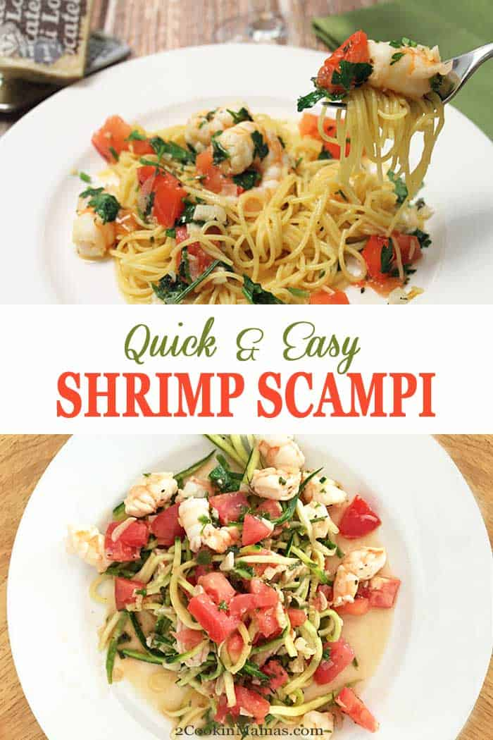 Shrimp Scampi | 2 Cookin Mamas You just can't beat fresh tomatoes, shrimp and herbs over pasta. Shrimp Scampi is quick, easy and nutritious. Perfect for any night of the week. #shrimp #shrimpdinner #seafooddinner #tomatoes #easydinner #pasta #recipe