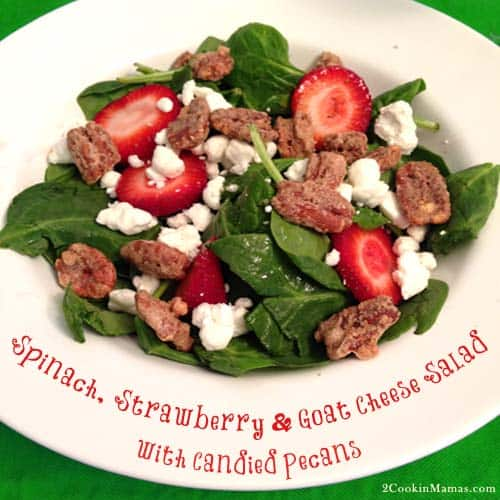 Spinach Strawberry and Goat Cheese Salad | 2CookinMamas