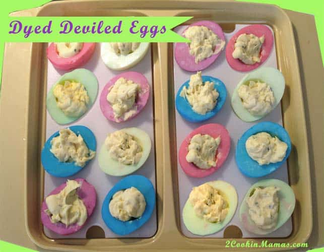 Dyed Deviled Eggs | 2 Cookin Mamas