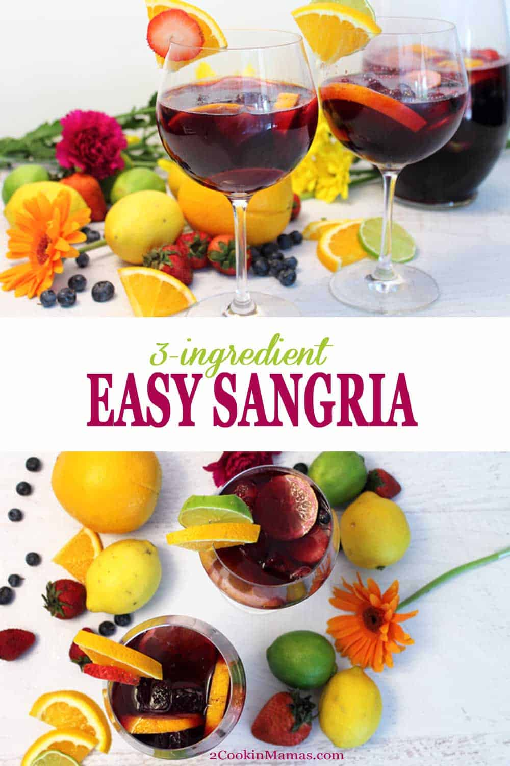 3 ingredient sangria photo of filled glasses with garnishes of fruit