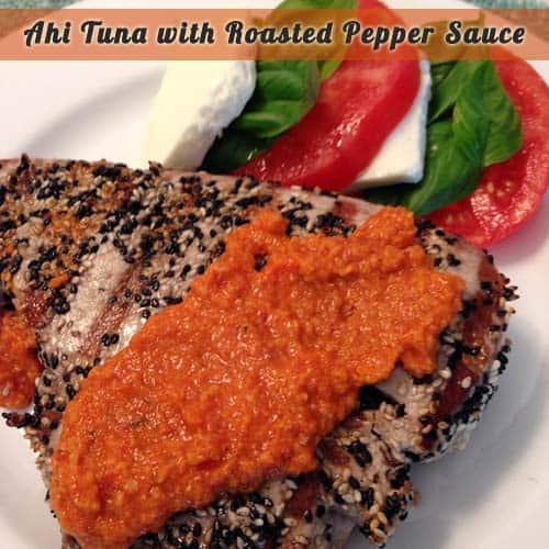 Ahi Tuna w Roasted Pepper Sauce   2CookinMamas