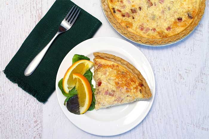 Bacon Ham and Cheese Quiche overhead | 2 Cookin Mamas