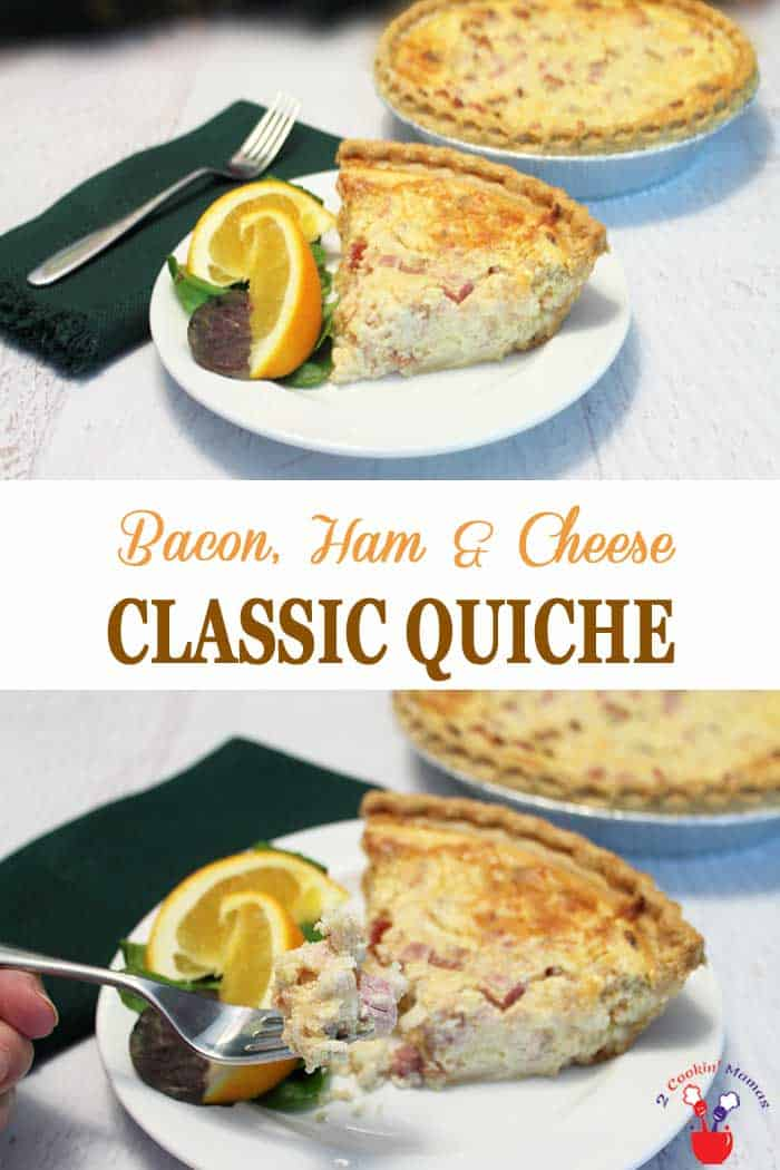 Bacon Ham and Cheese Quiche | 2 Cookin Mamas Whether it's a special brunch, like Mother's Day, or an every day dinner, this delicious Bacon Ham and Cheese Quiche is the perfect meal. It brings all your favorite breakfast ingredients together in one creamy pie. Crisp bacon, chunks of ham and creamy Swiss, set in a flaky crust, make for one flavorful treat. #quiche #breakfast #brunch #bacon #ham #mothersday #recipe