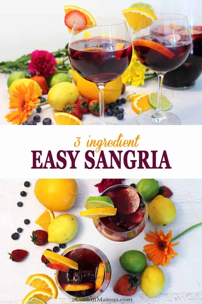 What could be easier than a 3-ingredient sangria? Just combine an inexpensive red wine, lemon-lime soda & sliced fruit for the lightest & most delicious summer cocktail ever! #sangria #easyrecipe #summercocktail #redwine #redwinesangria #recipe