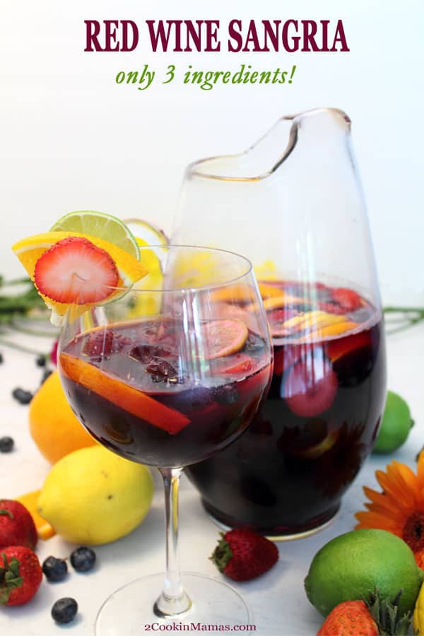 What\'s better than a refreshing cocktail for your Memorial Day BBQ? An easy and delicious one! Our easy sangria has only 3 ingredients and can be ready in a matter of minutes. Combine inexpensive red wine, lemon-lime soda & sliced fruit, like oranges, lemons, limes and berries, and go. It may just become your new favorite go-to summer cocktail. #cocktail #summer #easy #recipe #wine #red #foracrowd #simple