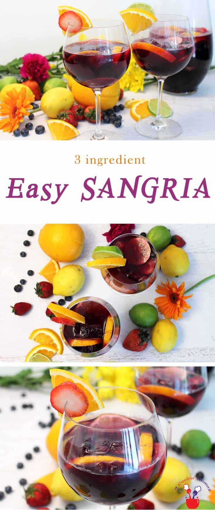 Easy Sangria | 2 Cookin Mamas Our easy sangria has just 3 ingredients. An inexpensive wine, Sprite & sliced fruit are all that's needed to make this favorite summer cocktail.