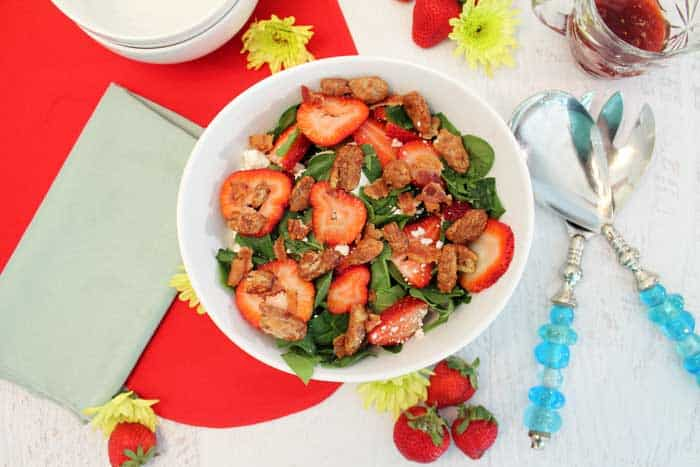 Spinach Strawberry Goat Cheese Salad 1 | 2 Cookin Mamas