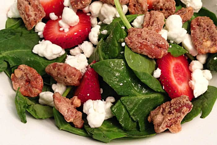 closeup of all ingredients in spinach salad