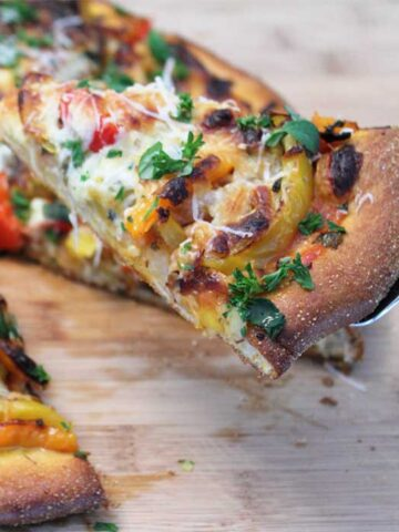 Three Pepper Pizza square slice