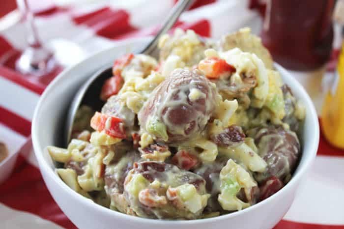 Roasted Red Potato Salad with bacon closeup | 2 Cookin Mamas