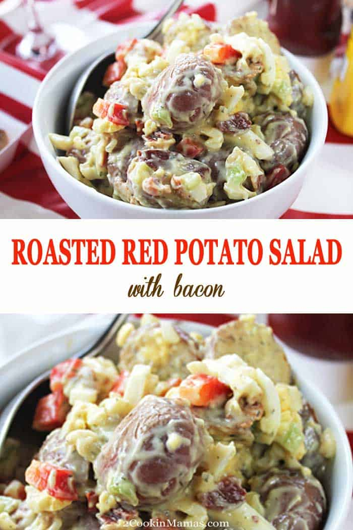 Roasted Red Potato Salad with Bacon | 2 Cookin Mamas This Roasted Red Potato Salad with bacon takes your potato salad to the next level by roasting the potatoes first. Throw in some bacon, egg, a little dill, and you've just created the WOW factor for your next picnic! #potatosalad #potatoes #sidedish #MemorialDay #FourthofJuly #picnic #roastedpotatoes #recipe #bacon #redpotatoes