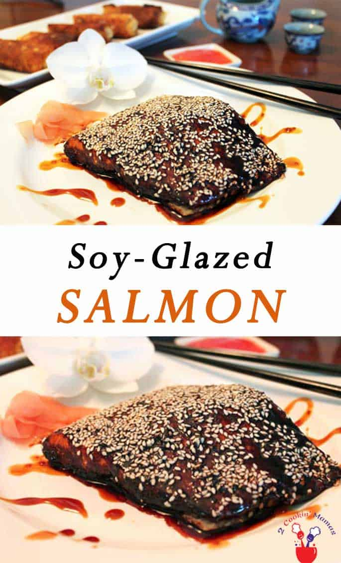 Asian flavors dominate this healthy soy glazed salmon recipe. Just bake in our slightly sweet soy sauce glaze & you\'ll have dinner on the table in 30. #asianflavor #salmon #soysauce #seafooddinner  #30minutedinner