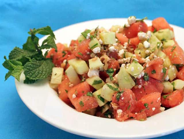 Watermelon Cucumber and Mint Salad close up | 2 Cookin Mamas