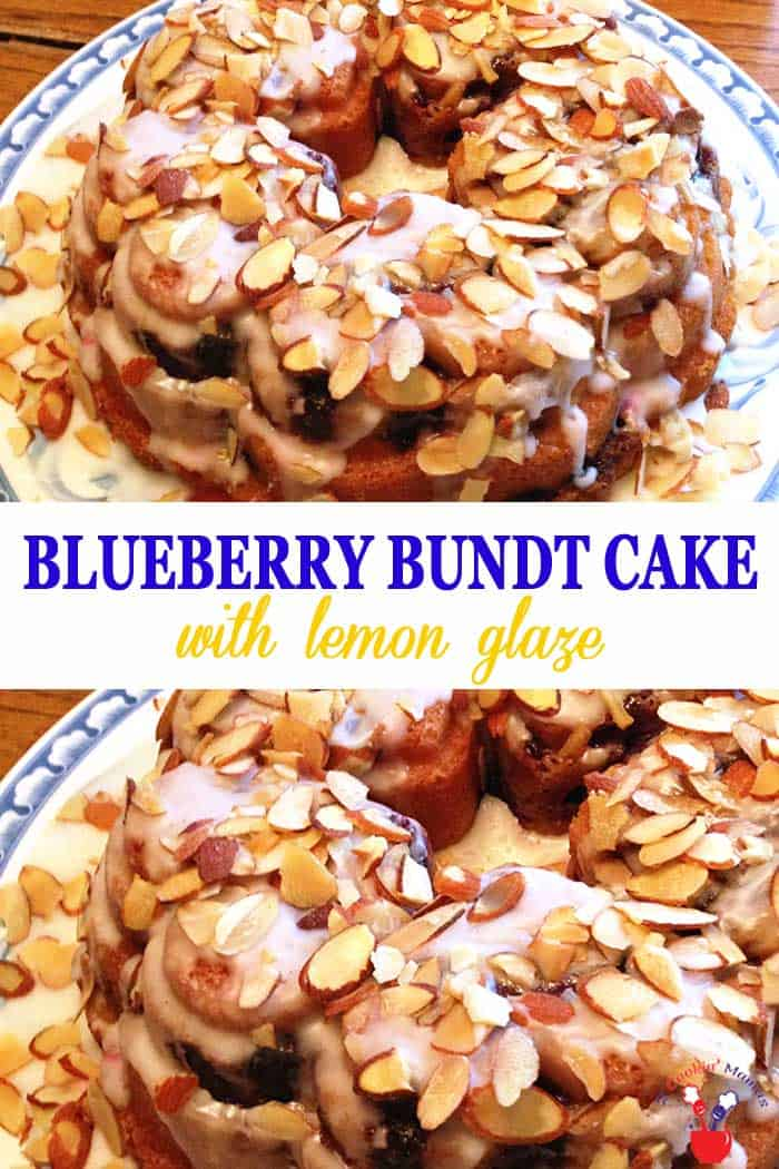 Blueberry Bundt Cake | 2 Cookin Mamas This Blueberry Bundt Cake is a rich, dense cream cheese cake flavored with almond and loaded with fresh blueberries. It's kicked up a notch with a drizzle of lemon glaze & a sprinkling of almonds. Delicious for dessert or even breakfast! #cake #blueberrycake #bundtcake #blueberries #breakfast #dessert